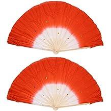 Abanico - TOOGOO(R)Abanico largo de bambu de danza baile de vientre hecho a mano Rojo 2 pzas
