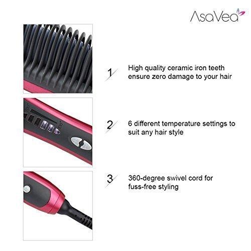Haarglättungs bürste - Asavea Glätteisen Bürste, # 1 Sicherste Schnellste Keramik Aufheizung Entwirrung, Verbrühungsschutz patentiertes Design, unterstützt durch FCC CE -