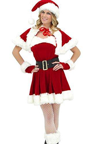 IYOUGOU Donna Abito Babbo Natale Costume Vestito Da Festa Con Il Cappello E Guanti Scialle Come l'immagine