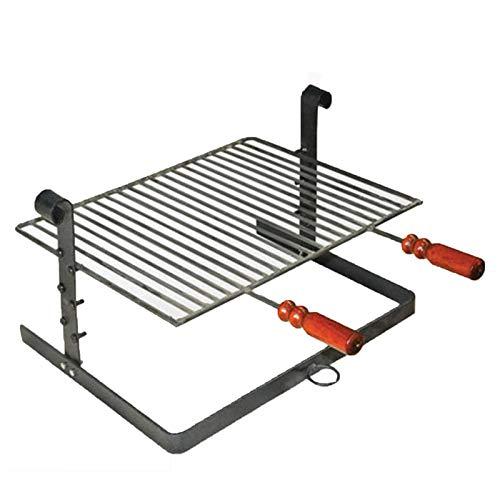 Bistecchiera barbecue griglia graticola bbq camino regolabile ferro battuto fornello brace (50 x 40 cm)