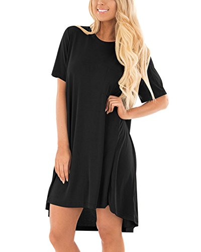 CNFIO Minikleid Damen Kleider Sommerkleider Tshirt Shirtkleider Einfarbig Blusekleider Casual Rundhals Knielang Mit Taschen Kleid