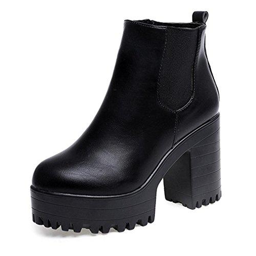 Stivali donna , feixiang® stivali donna tacco quadre pedana gambe alta pompa stivali scarpe (39, nero)
