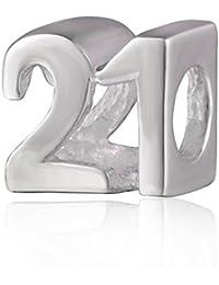 991adb8b8436 soulbead Número 21 cumpleaños Milestones auténtica plata de ley 925 cuentas  para pulsera ...