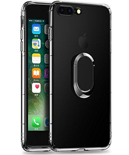iPhone 8 Plus Hülle, iPhone 7 Plus Hülle,freier 360 Grad-drehender Ring-Stoß-Tropfen-Schutz weicher Stoß-Absorption TPU Fall [Kompatibel mit magnetischem Auto-Berg-Fall] für iPhone 8/7 Plus -löschen -