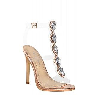 Onlymaker Damenschuhe Fashion High Heels Freie Toe Transparent Strap Riemchen Schnalle Sandale Rose Gold EU41