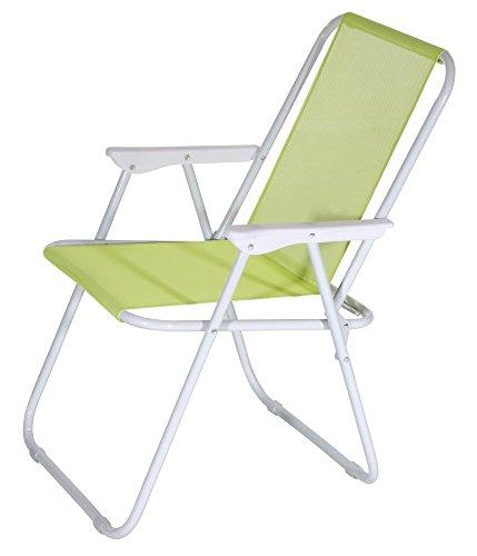 Verdelook sedia lanzarote pieghevole da spiaggia 52x44x75 cm, lime giardino esterni