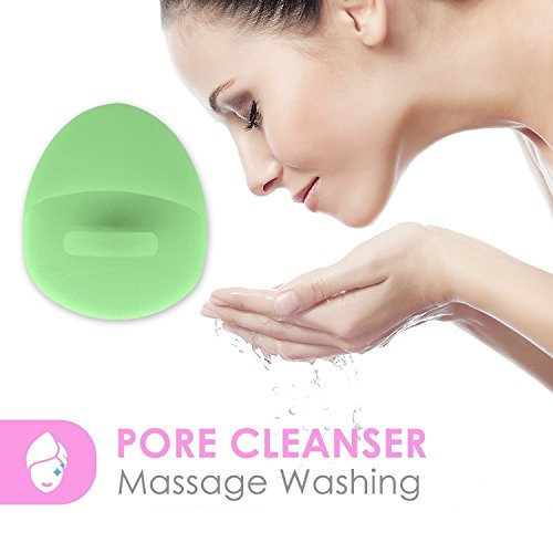 Okayji Cleansing Pads, Silicone Face Scrubbers Brush Soft Exfoliates Cleansing Tool Massage Blackhead Removing Baby Pet Shower (Green)
