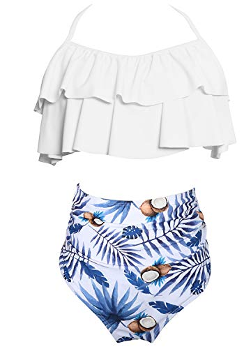 Damen Neckholder Bikini Volant Bademode mit Badehose Bikini-Set Badeanzug Swimsuit Blau XL