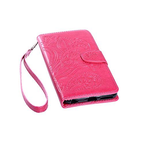 Custodia iPhone 6S Plus,Custodia iPhone 6 Plus,Custodia iPhone 6S Plus / 6 Plus, iPhone 6S Plus Cover, ikasus® iPhone 6S Plus / 6 Plus Custodia Cover [PU Leather] [Shock-Absorption] Protettiva Portafo Mandala:Rosa caldo