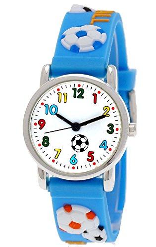Pure Time® Kinder-Uhr Mädchen-Uhr Jungen-Uhr für Kinder Silikon-Kautschuk Armband-Uhr Uhr mit 3d Fußball Motiv Hell-Blau Türkis