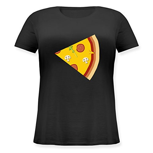 Shirtracer Partner-Look Pärchen Damen - Pizza Pärchenmotiv Teil 2 - Lockeres Damen-Shirt in Großen Größen mit Rundhalsausschnitt Schwarz