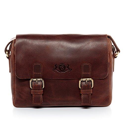 Sid & vain® borsa messenger vera pelle vintage yale borsello tracolla borsa a spalla lavoro uomo donna cuoio marrone