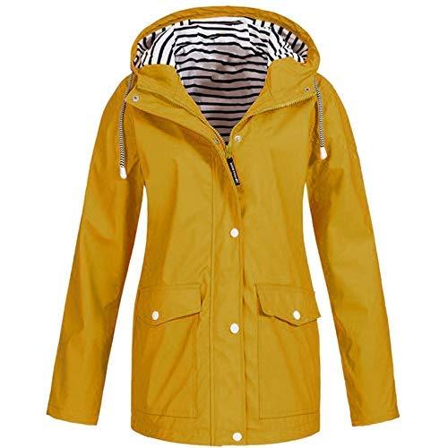 ng Herbst Bequem Mantel Lässig Mode Jacke Frauen Feste Regenjacke im Freien Plus wasserdichter mit Kapuze Regenmantel Winddicht ()