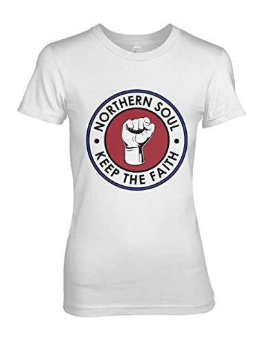 Northern Soul Keep The Faith Mod Culture Damen T-Shirt Weiß