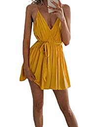 603a5df0c137 Smalltile Estivo Donna Casual Corto Vestiti con Bandage Sexy Senza  Schienale Abito da Partito Festa Moda V Collo…