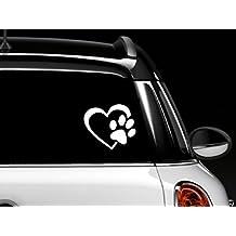A forma di cuore con motivo a impronte di cani Puppy Love 10,16 (4 cm (colore: bianco), in vinile, decalcomania, adesivo per auto, camion, Windows, muri, portatili e altri oggetti.