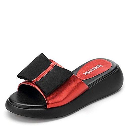 ZHANGRONG-- Pantoufles de mode en cuir d'été Frappez la couleur des pantoufles simples et décontractées Chaussons inférieurs épais (Rouge) (taille facultative) ( taille : 38 )