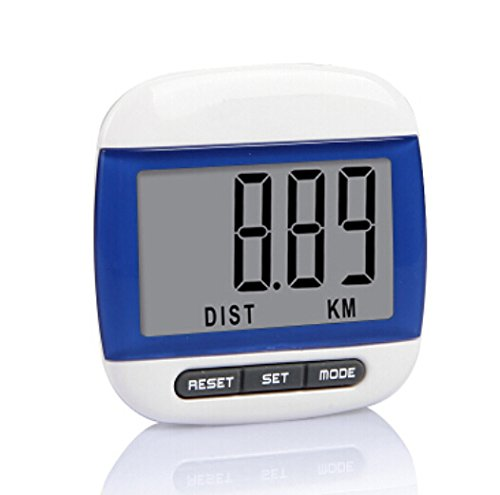 Liroyal New Multi-function Pedometer Distance Calorie Counter 5 Steps Buffer Error Correction Large LCD Display with Belt,Blue