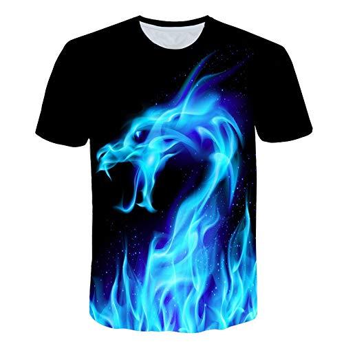 XIAOBAOZITXU T-Shirt Unisex-Paar-Kostüm 3D-Digitaldruck Blauer Drache Cool Lustig Lose Sportmode Großes T-Shirt XL (Kostüme Cool Drachen)