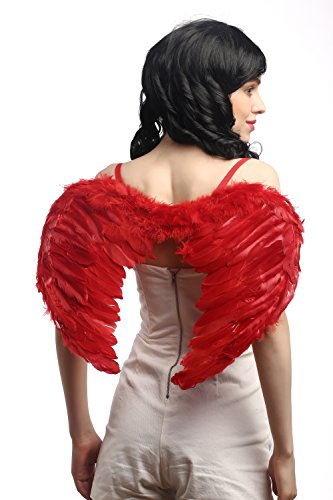 DRESS ME UP - RH-027-red Halloween Karneval Cosplay Flügel Federflügel Rot Gefallener Engel Dämon Teufel Luzifer Gothic (Gefallene Kostüme Fee)