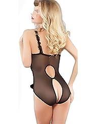 Sousvêtements pour dames toute dentelle les femmes ouvertes révélant la poitrine et les fesses le costume pyjama