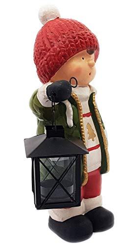 Wichtelstube-Kollektion XL Deko Figur Winterkinder Junge Weihnachtsfigur 27cm Keramikfigur Weihnachten Gartenfigur