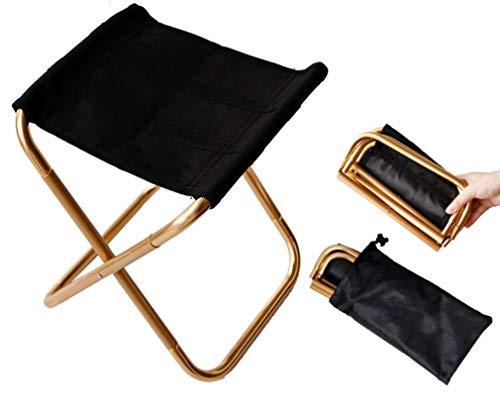 BOFA Goldener Mini tragbarer Klappstuhl mit Tasche, Aluminium kompakter Ultraleichter Klapphocker Sitz mit Tragetasche für Garten, Strand, Angeln, Wandern, Camping, Picknick Reisen
