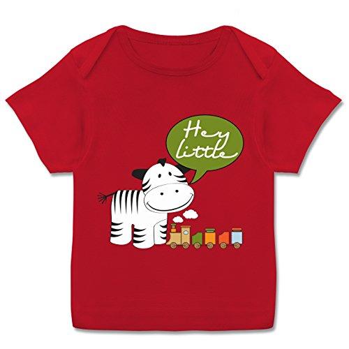 Zur Geburt - Hey little neutral Zebra Zug - 56-62 (2-3 Monate) - Rot - E110B - Kurzarm Baby-Shirt für Jungen und Mädchen in verschiedenen Farben (Hey T-shirt Roten Hey)