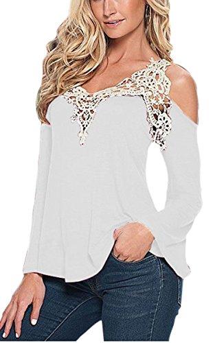 ZEARO Damen T-Shirt Bluse Beiläufiges Hemd Langarm Spitze Tops V-Ausschnitt Schulterfrei Oberteile Weiß