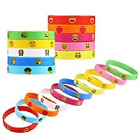 SULOLI 20 Pieces Emoji Bracelets Bands for Kids Adults Silicone Emoji Wristband Birthday Party Gifts, 10 Colors & Patterns