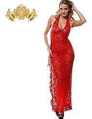 sous la robe de dentelle rouge limite cou suspendue