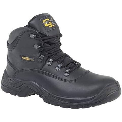 Grafters Black Hiker Safety Toe Cap Boot - Calzado de protección de cuero para hombre