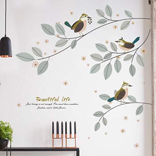 liuweidedian Kreative Vögel Auf Dem Zweig Moderne Dekoration Wandaufkleber Schönes Leben Kinder Baby Room Home Decor Abziehbilder Poster Kunst 225X140 cm -