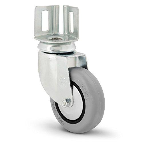 Alex bh-pgi–Lenkrolle mit Deck Teller Gummi Winkel: 40mm x 40mm, Durchmesser: 80mm) grau