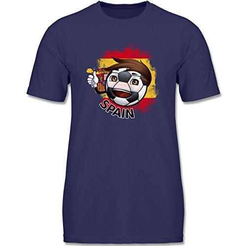 Navy Fußball-maskottchen (Shirtracer Fußball-WM 2018 Russland Kind - Fußballjunge Spanien - 164 (14-15 Jahre) - Navy Blau - F140K - Jungen T-Shirt)