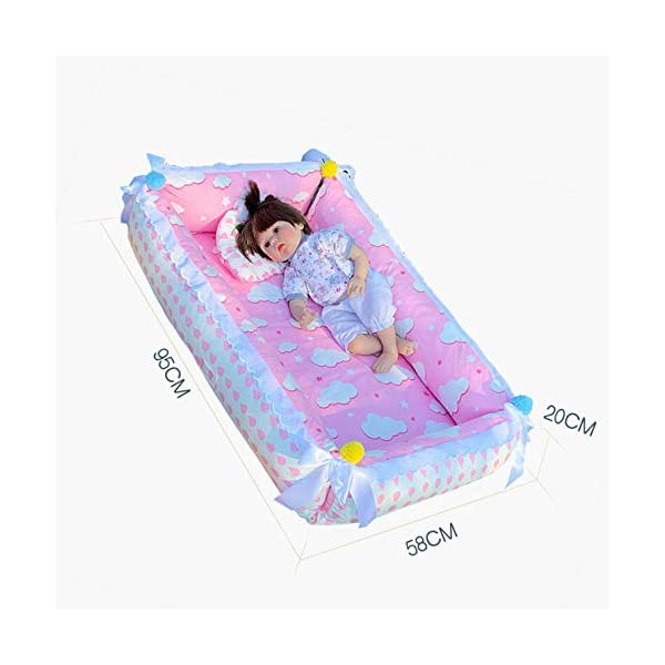 YANGGUANGBAOBEI Baby Lounger,for Newborn,100% Cotton Newborn Portable Bassinet Crib,(0-24months),Snuggly Soft Sleeping Pillow,Q YANGGUANGBAOBEI [Safe Sleep and Comfortable Bionic Bed]: Your child will feel comfortable and safe on our soft baby lounger. Such a safe sleeper can help the baby enjoy deep and beautiful sleep, and help solve common newborn sleep problems. [Low-energy Materials, Breathable and Non-toxic]: We use 100% cotton fabric and breathable, hypoallergenic internal fillers, which are safe for Sensitive skin of a baby. It will let your children sleep peacefully in their lovely sleeping cribs. [Versatile]: Use baby recliner as a cradle bed, side bed, travel bed, newborn pillow, change station or move around the house to rest or abdomen time, making the baby feel safer and more comfortable. 6