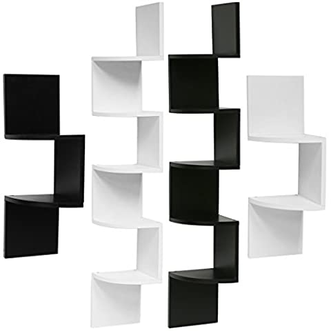 Hartleys Zig Zag Corner Wall Shelf Unit - Choice of Size & Colour