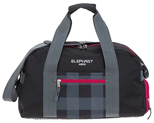 ELEPHANT HERO Signature Sporttasche mit Schuhfach Sport Tasche 12611 (Plaid Red (Schwarz Rot/Pink) (Plaid Pink)