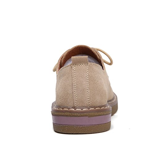 JRenok Chaussure Femme Suède Mocassin Loafers Lacets Tête Ronde à Cheville Ballerine Légère Kaki