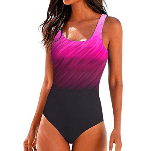 BIBOKAOKE Badeanzug Damen Monokini Push Up Bikini Sets Einteiler Bademode Schwimmanzug Farbverlauf Figurformenden Effekten Rückenfrei Bandeau Badeanzüge Strandkleidung Tankinis S-2XL