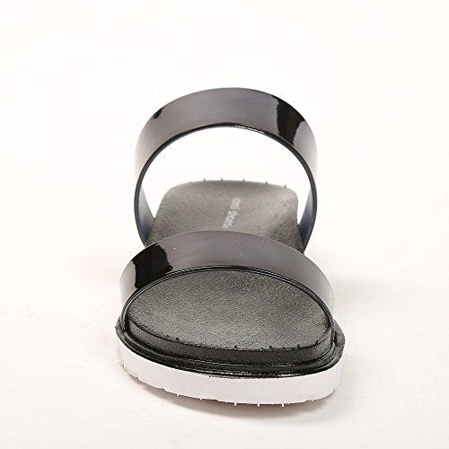 Ideal Shoes Nu-Pieds avec Doubles Lanières Effet Vernis Felicina Noir