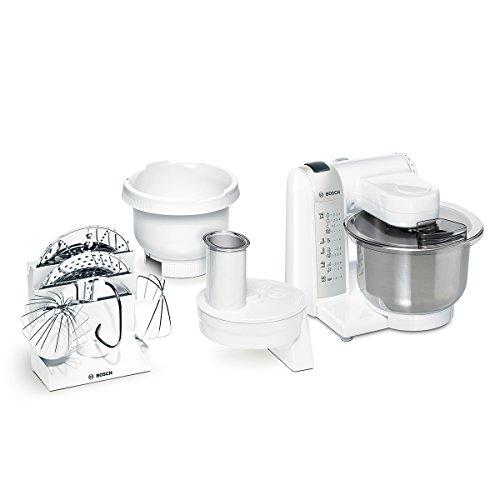 Bosch-MUM4835-Kchenmaschine-MUM4-600-Watt-39-Liter-Edelstahl-Rhrschssel-Durchlaufschnitzler-Kunststoff-Rhrschssel-Rezept-DVD-wei