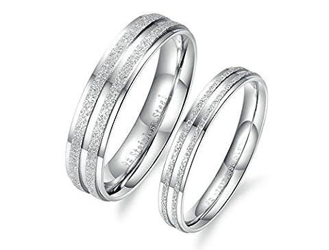BeyDoDo Modeschmuck 1 PCS Edelstahlring für Damen Hochglanzpoliert Sandstrahlen Breite 3MM Partnerring Ehering Ring Silber Ringgröße 57 (80er Kostüme Bilder)