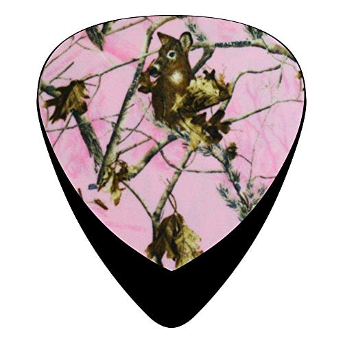 Celluloid Camouflage Hot Pink Realtree Camo Guitar Picks 12 Packs,Standard Bass Guitarist Music Gifts -
