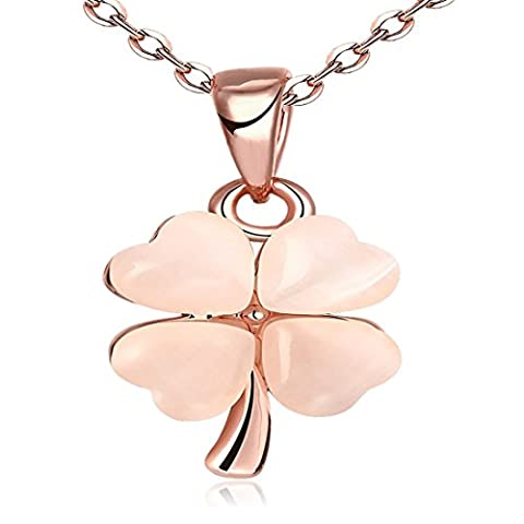 JewelleryClub Trèfle Collier Plaqué Or Rose Cristal Swarovski Elements Opal Collier Pendentif Pour les Femmes