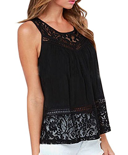 Damen ärmel rückenausschnitt SpitzehäKelarbeit Tank Tops T Shirt Lässige Mädchendruck Weste Top Schwarz