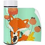 Vockgeng Vakuum Isolierte Edelstahl Trinkflasche thermoskanne Wasserflasche Auslaufsicher-Thermosflasche für Sport Outdoor Büro Kinder Schule 0.5l Tier - Fuchs 6.5×20CM