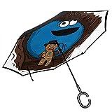 Indiana Jones Paraguas invertido de Doble Capa con diseño de Monstruo de Galleta de Jengibre, para el Reverso del Coche, Plegable, con Forma de C, Ligero y Resistente al Viento