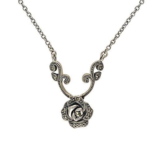 Esse Marcasite Halskette, Sterling Silber, Pavé-Set, Markasit, viktorianische Rose, Länge 36cm