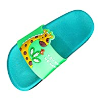 TEELONG Cute Cartoon Giraffe Flat Shoes Summer Casual House Non-Slip Pool Slippers Beach Bathroom Slides Girls Ladies Comfortable Shoes (Green,3.5 UK)